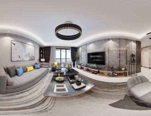 现代客餐厅, 壁画, 多人沙发, 电视柜, 茶几, 吊灯, 边几, 桌子, 椅子, 橱柜, 现代