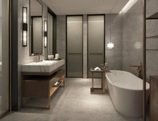 现代, 浴室, 浴缸, 洗手台, 壁灯, 置物架, 边几, 吊灯