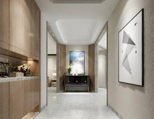 中式玄关走廊, 壁画, 边柜, 置物柜, 中式
