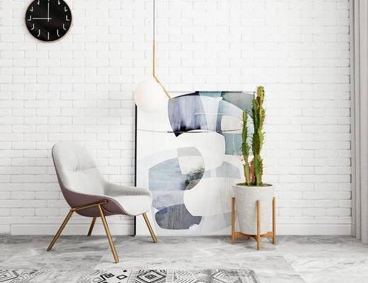 单椅, 吊灯, 装饰画, 盆栽, 北欧