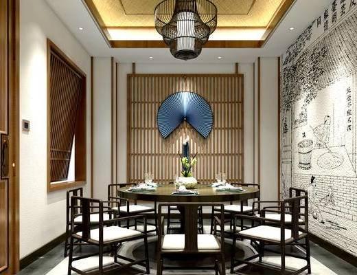 中式饭厅, 吊灯, 中式餐桌椅组合, 壁画, 酒杯, 餐具, 中式