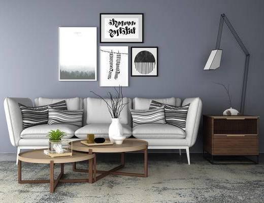 多人沙发, 茶几, 挂画, 边柜, 台灯, 现代