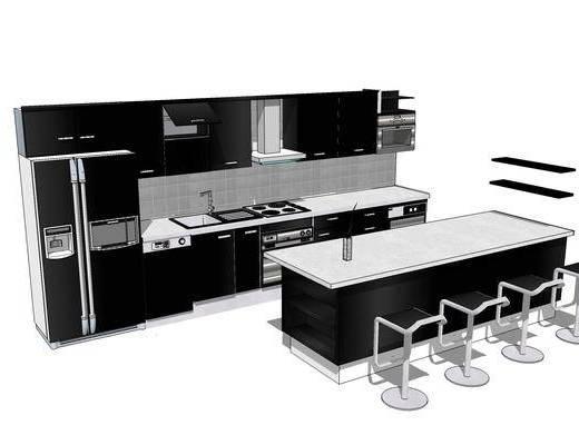 廚柜, 櫥柜, 廚房, 現代, 椅子, 吧臺