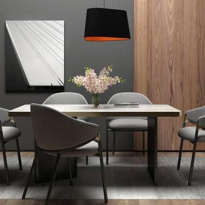 桌椅组合, 吊灯, 桌子, 椅子, 现代