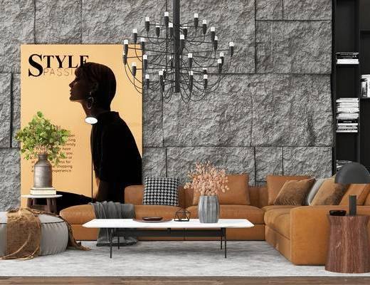 沙发组合, 壁画, 多人沙发, 茶几, 边几, 沙发凳, 书柜, 吊灯, 新古典
