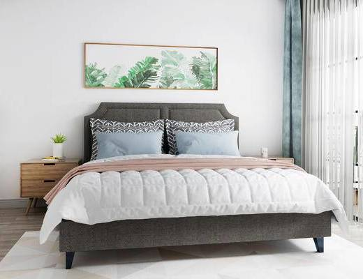 床具组合, 双人床, 壁画, 床头柜, 北欧