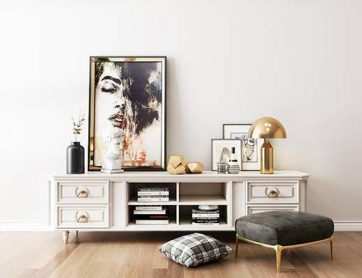 摆件组合, 电视柜, 台灯, 装饰画, 沙发凳, 欧式