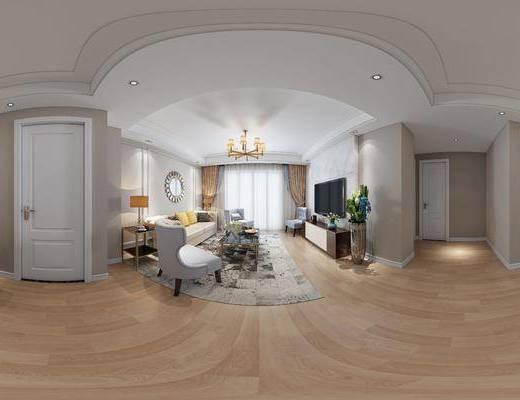 现代港式客厅, 现代沙发茶几组合, 吊灯, 边几, 台灯, 镜子, 单人沙发椅, 电视柜, 盆栽, 桌椅组合, 花瓶, 相框, 地毯, 现代