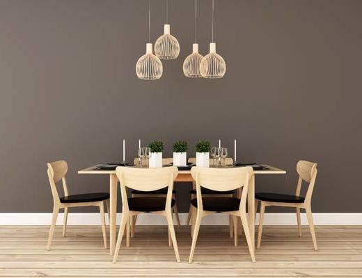 桌椅组合, 桌子, 椅子, 吊灯, 现代