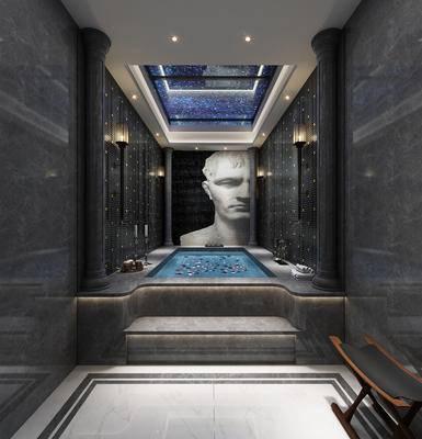 现代浴室, 浴缸, 壁画, 现代