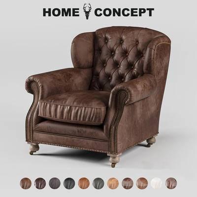 美式复古单人沙发, 复古单人沙发, 美式单人沙发, 单人沙发
