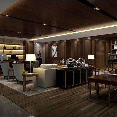 新中式办公室, 桌子, 椅子, 多人沙发, 边几, 台灯, 边柜, 置物柜, 壁画, 新中式