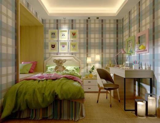 现代简约卧室, 床, 飘窗, 壁画, 床头柜, 吊灯, 桌椅组合, 台灯, 落地灯, 储物架, 现代简约