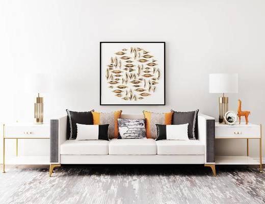 摆件组合, 多人沙发, 壁画, 台灯, 边几, 地毯, 现代