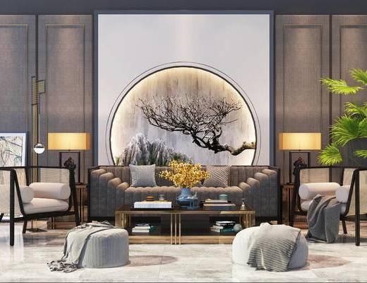 沙发组合, 多人沙发, 茶几, 壁画, 椅子, 台灯, 边几, 新中式