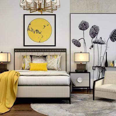 床具组合, 双人床, 床头柜, 台灯, 中式