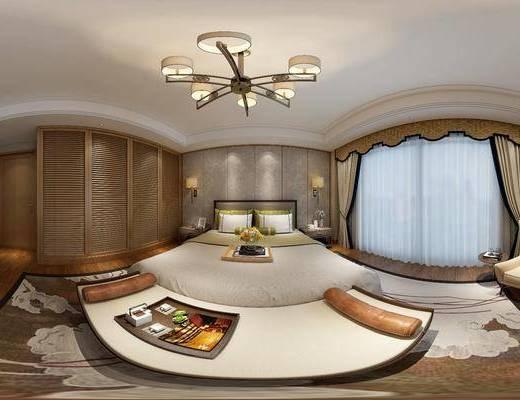 新中式卧室, 双人床, 床尾塌, 壁画, 床头柜, 壁灯, 衣柜, 电视柜, 单人沙发椅, 边几, 花瓶, 地毯, 新中式