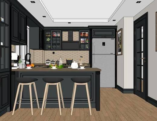 美式厨房, 橱柜, 吧椅, 吧台, 置物柜, 地毯, 美式