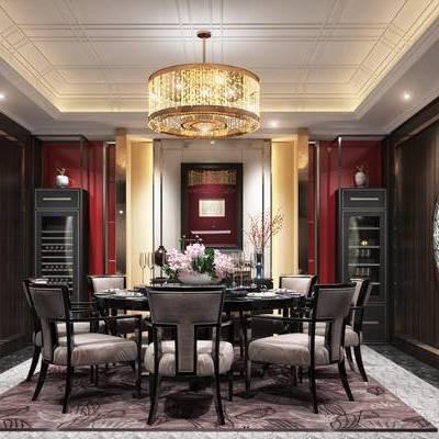 现代包间, 吊灯, 桌子, 椅子, 壁画, 置物柜, 现代