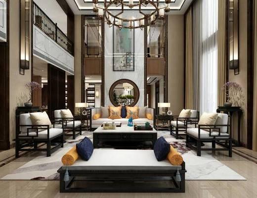 新中式, 餐厅, 桌椅组合, 沙发茶几组合, 吊灯