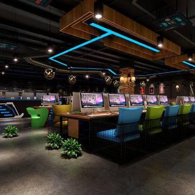 网吧, 吊灯, 桌子, 椅子, 电脑, 盆栽, 现代