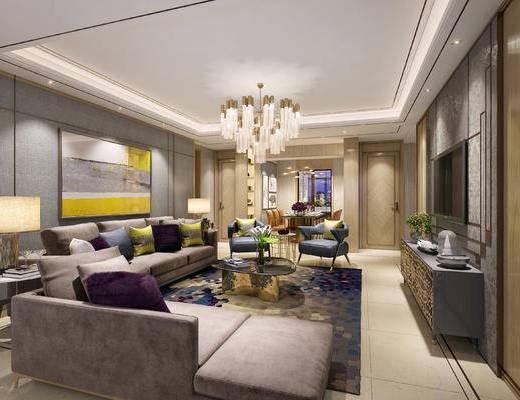 现代客厅, 壁画, 吊灯, 多人沙发, 茶几, 台灯, 边几, 电视柜, 椅子, 现代