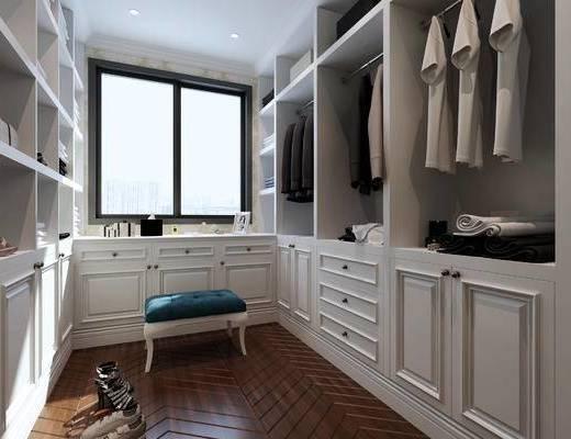 欧式衣帽间, 衣柜, 桌子, 凳子, 欧式