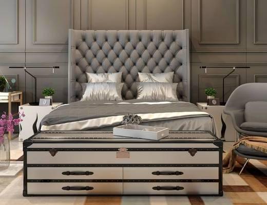 床具组合, 双人床, 床头柜, 台灯, 椅子, 桌子, 沙发脚踏, 简欧