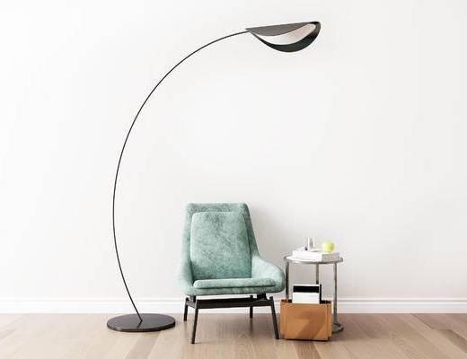 摆件组合, 单椅, 椅子, 落地灯, 边几, 现代