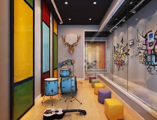 墙饰, 桌椅组合, 乐器