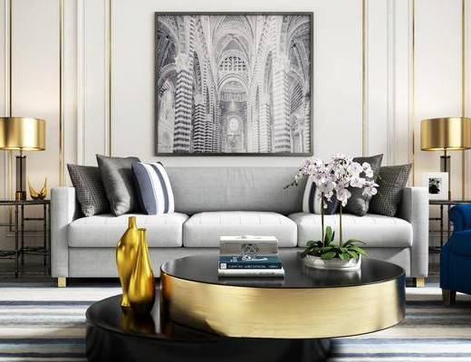 现代简约, 客厅, 沙发茶几组合, 植物盆栽, 陈设品组合