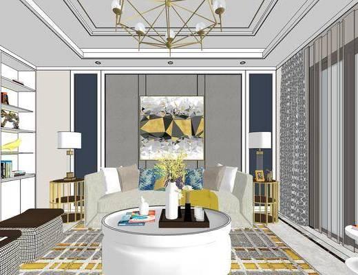 美式客厅, 壁画, 多人沙发, 茶几, 边几, 台灯, 桌子, 椅子, 吊灯, 电视柜, 美式