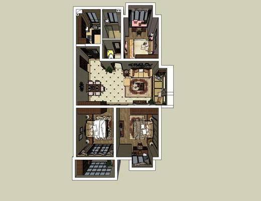 美式家装, 卧室, 双人床, 客厅, 沙发组合