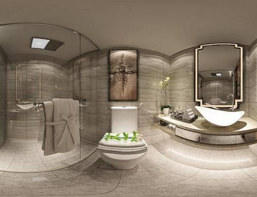 现代卫浴, 现代马桶, 洗手台, 镜子, 卫浴柜, 卫浴用品, 洗漱用品, 壁画, 毛巾, 沐浴间, 盆栽, 现代