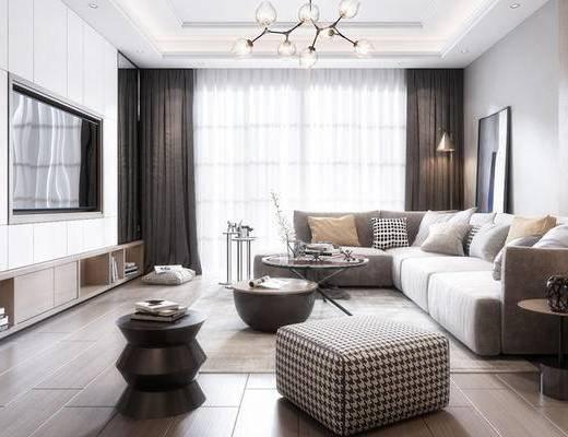 现代客厅, 多人沙发, 茶几, 沙发凳, 电视柜, 边几, 吊灯, 现代