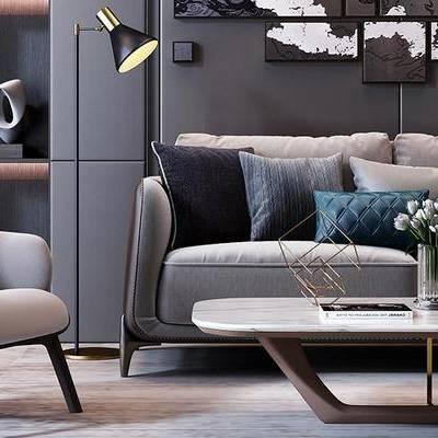 现代沙发组合, 双人沙发, 茶几, 单椅, 盆栽, 现代