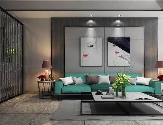 沙发组合, 吊灯, 多人沙发, 壁画, 台灯, 边几, 茶几, 花瓶, 地毯, 现代