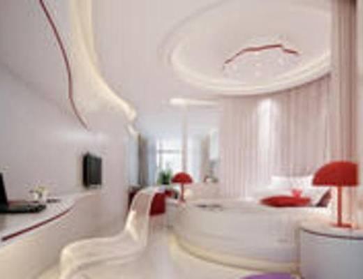 后现代, 酒店, 客房, 双人床, 休闲椅, 摆件