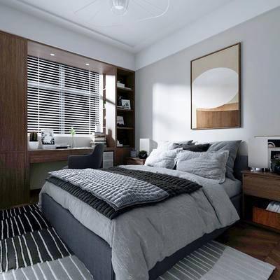 现代, 卧室, 双人床, 床头柜
