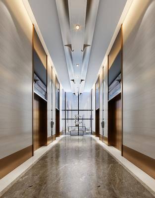 走廊过道, 电梯, 边几, 现代