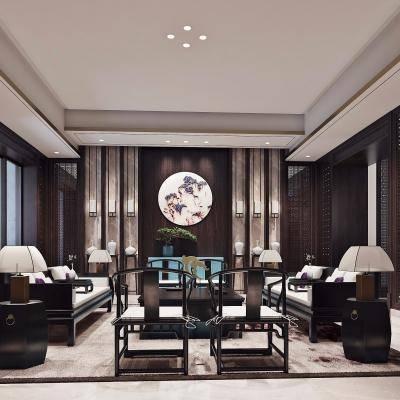 中式庭院会客厅, 中式桌椅组合, 壁画, 茶几, 壁灯, 台灯, 花瓶, 中式