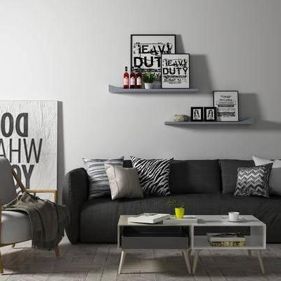 沙发组合, 多人沙发, 置物架, 椅子, 茶几, 现代