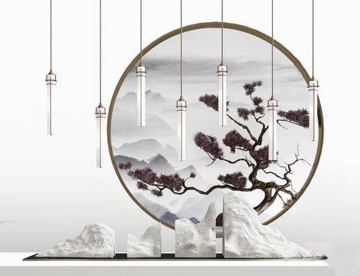 新中式, 端景台, 吊灯, 陈设品