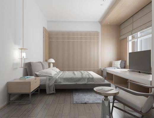 现代简约卧室, 床, 吊灯, 床头柜, 台灯, 电视柜, 边几, 沙发单椅, 地毯, 现代简约