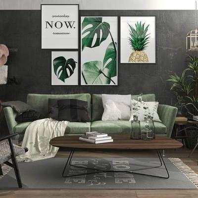 现代, 沙发, 茶几, 挂画, 装饰画, 盆栽, 椅子, 沙发椅, 台灯, 吊灯, 帽子