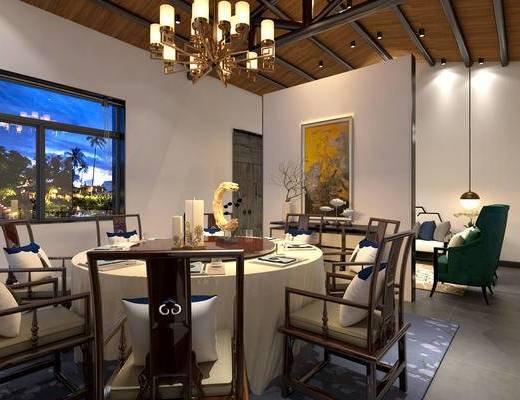 中式饭厅, 吊灯, 中式餐桌椅组合, 壁画, 多人沙发, 单椅, 花瓶, 地毯, 中式