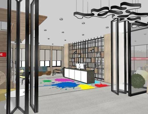 现代办公室, 吊灯, 桌子, 椅子, 前台, 壁画, 现代