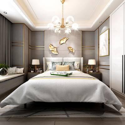 欧式简约, 床具组合, 吊灯, 台灯, 卧室