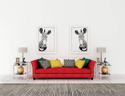 多人沙发, 边几, 台灯, 现代