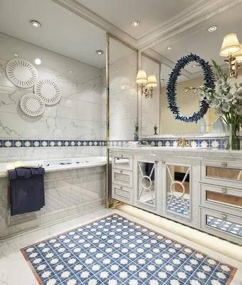 卫浴, 洗手台, 浴缸, 壁灯, 花瓶, 镜子, 美式